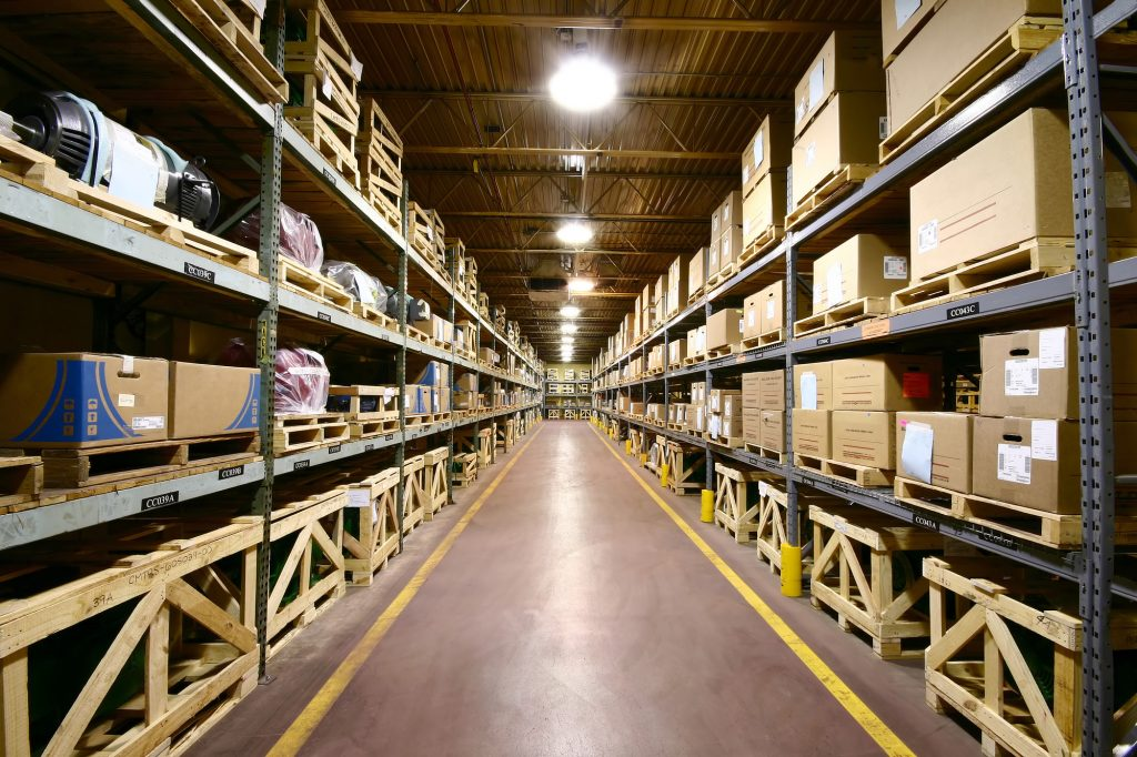 Warehouse aisle with products